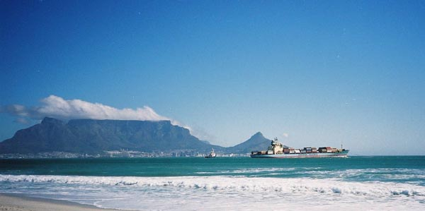 Sealand Express leaving Table Mountain behind her